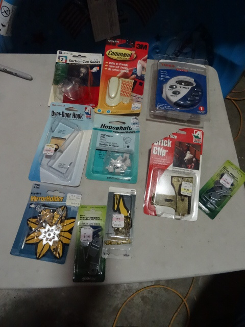 NEW Hardware Lot incl Timex Electronic Timer, picture hangers and clips