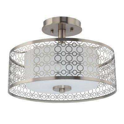 Home Decorators Collection 1 Light Brushed Nickel Led Semi Flush Mount Light Model 7914hdc Open