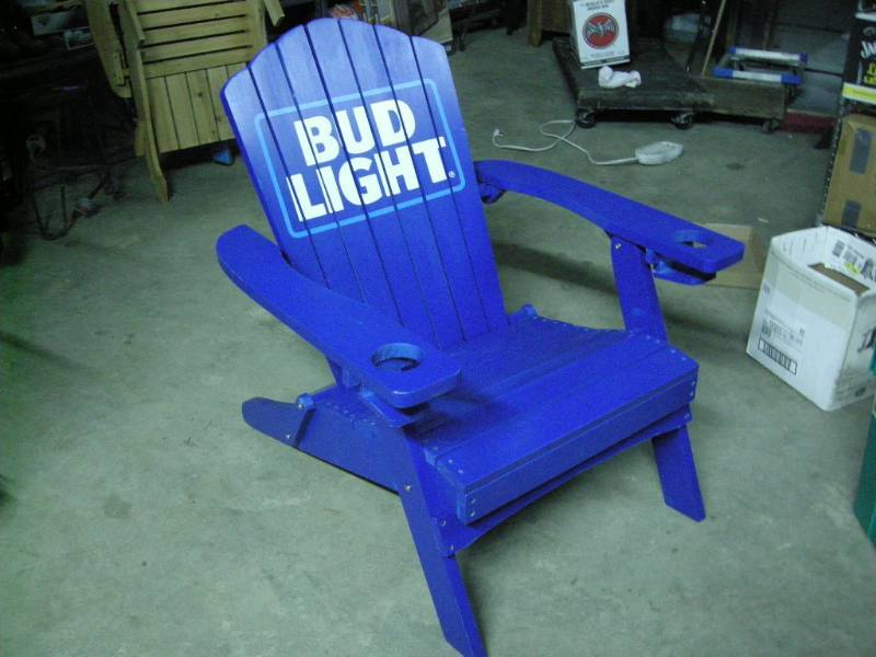 Beau Bud Light Folding Adirondack Chair | Ice Fishing, Ammo, Outdoors, Tools,  Die Cast, CDs, Military | K BID
