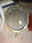 Oval Metal Table with glass top