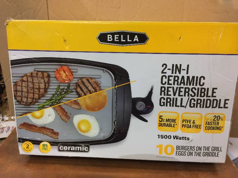 Bella 2 In 1 Ceramic Reversible Grill Gridle Used In Good