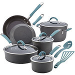 Rachael Ray Cucina 10-Pc. Nonstick Hard Anodized Cookware Set in Aqua Blue