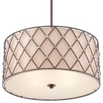 Quoizel Brown Lattice 4 Light Drum Pendant