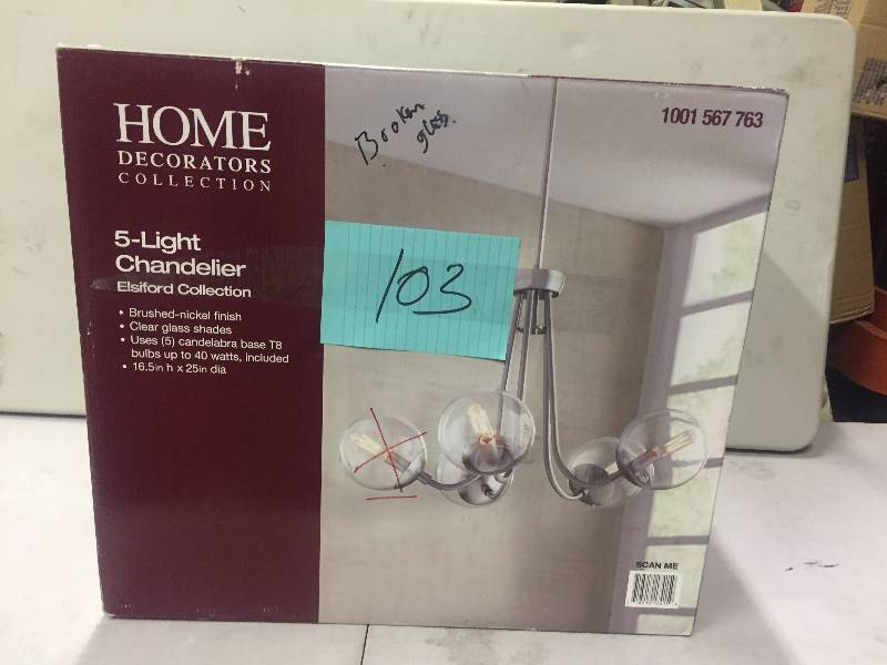 Home Decorators 5 Light Chandelier Elsiford Collection 1 Globe Missing Never Used Kx Real