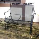 Retails New $700 Heavy Duty Patio Or Deck Black Wrought Iron Glider Loveseat Swing  - Super Nice Condition!