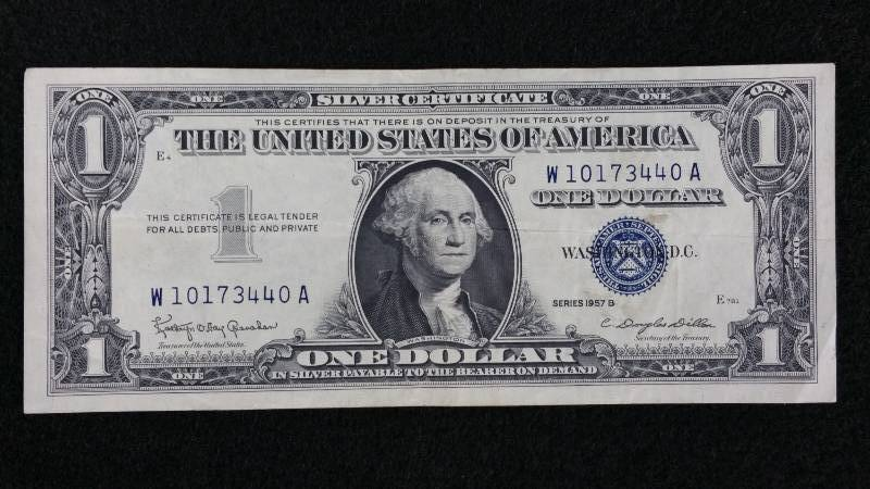 1957 Silver Certificate Blue Seal Note Currency Auction Civil