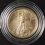 2016 1/10th Oz. .999 FINE GOLD US $5 GOLD EAGLE in airtite holder