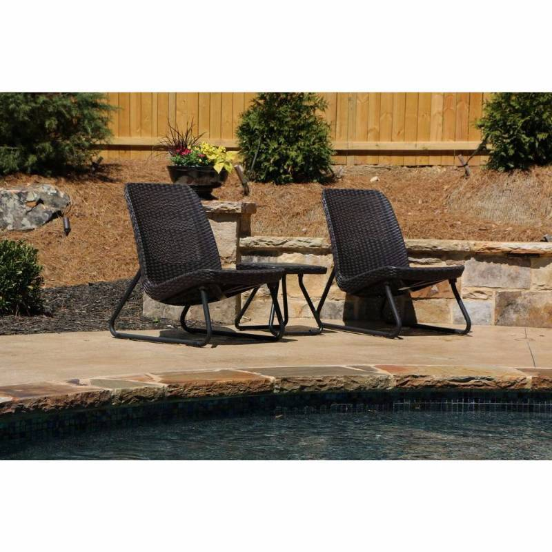 Keter rio brown 3 piece all weather patio seating set for Outdoor furniture hwy 7