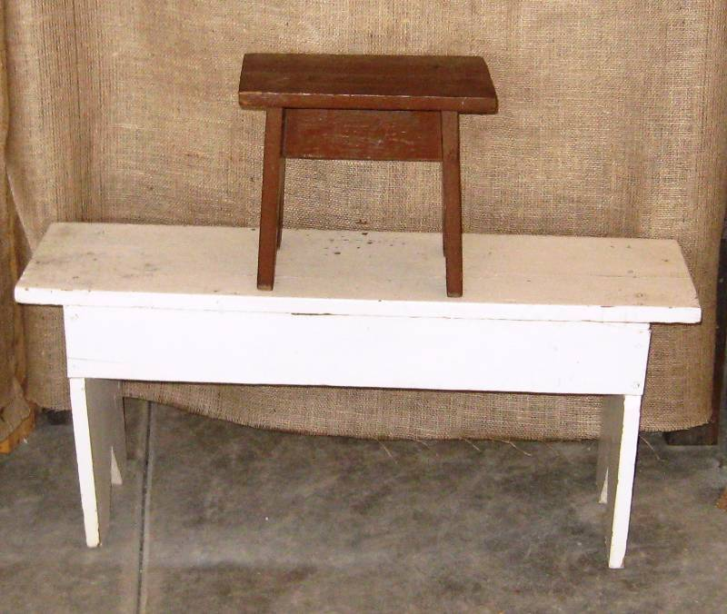 Old Wooden Bench U0026 Wood Foot/step Stool | Vintage, Antiques U0026 Collectibles  | K BID