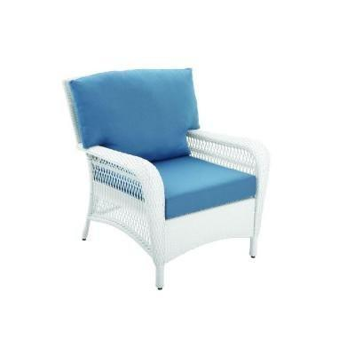 Martha Living Charlottetown White All Weather Wicker Patio Lounge Chair With Fast Drying Washed Blue Cushion New Kx Real Deals Tools Housewares