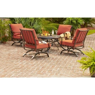 Hampton Bay Redwood Valley 5 Piece Patio Fire Pit Seating Set With Quarry  Red Cushions | KX Real Deals Hastings   Tools, Housewares Lightning Patio  ...