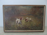 Antique Oil on Canvas Painting - Hunting Dogs