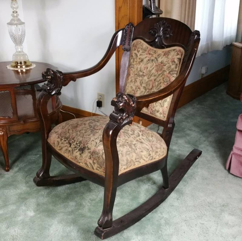Antique Mahogany Carved Lion Rocking Chair | St. Paul Estate Auction |  Furniture, Lighting, Antiques, Collectibles, Tools, and Household | K-BID - Antique Mahogany Carved Lion Rocking Chair St. Paul Estate Auction