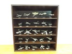 "1987 Franklin Mint ""The World's Greatest Aircraft"" Set of 25 Pewter Airplanes on Display Shelf"