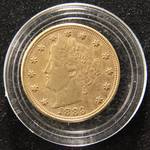 1883 'NO CENTS' GOLD PLATED 'RACKETEER' NICKEL