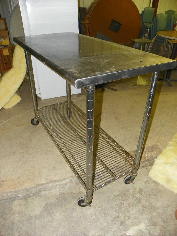 Small Stainless Steel Work Table On Wheels Wire Bottom Shelf - Small metal work table