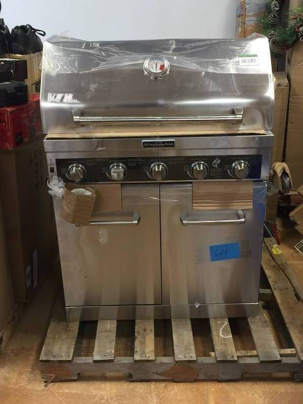 KitchenAid 5 Burner Propane Gas Grill In Stainless Steel With Sear And Side  Burners Never Used Dented On The Side And On The Top Model # 720 0893 | KX  REAL ...