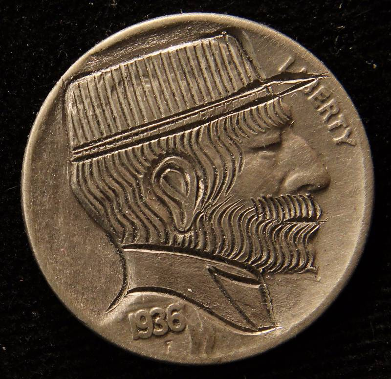 HOBO NICKEL CARVED FROM A 1936 BUFFALO NICKEL RARE & NICELY FASHIONED