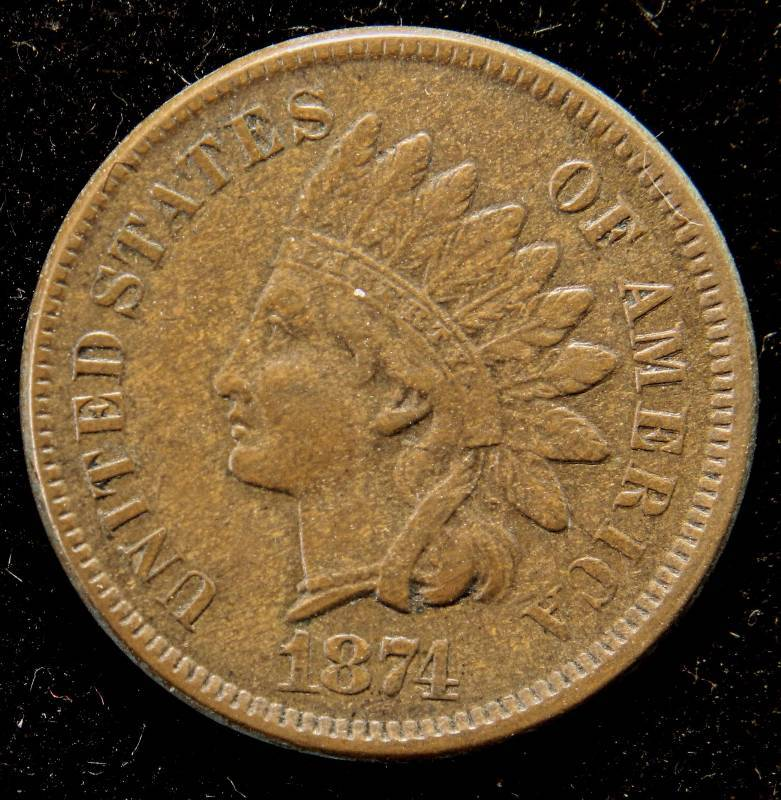 1874 INDIAN HEAD CENT XF