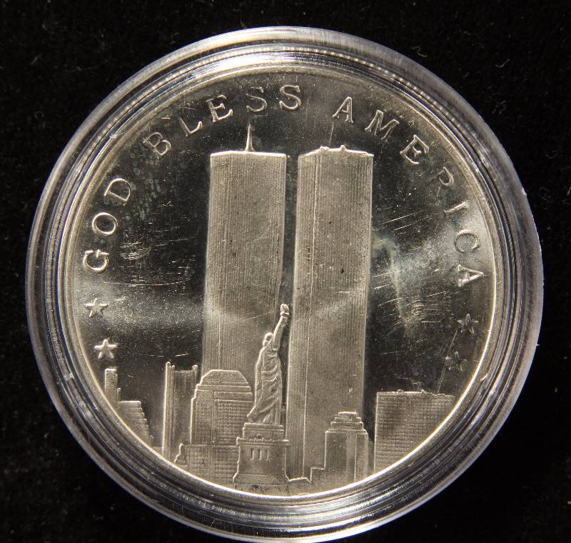 1 TROY OZ. .999 FINE SILVER 9-11 WORLD TRADE CENTER ROUND IN AIRTITE