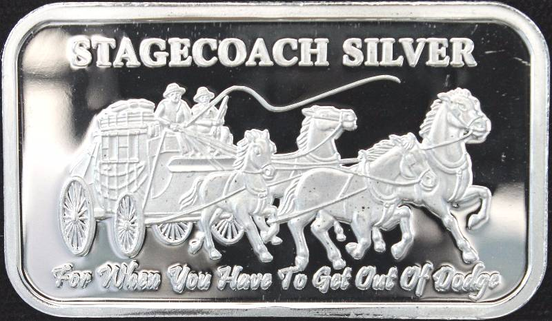 1 TROY OZ. .999 FINE SILVER BAR STAGECOACH CRACKER