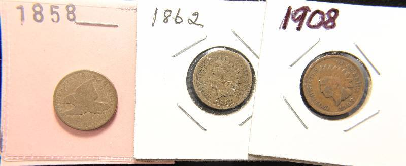(3) EARLY SMALL CENTS: 1858 FLYING EAGLE, 1862 CN INDIAN & 1908 INDIAN HEAD