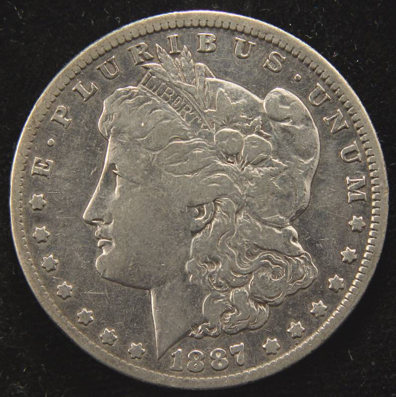 1887-S MORGAN SILVER DOLLAR VF DETAILS CLEANED
