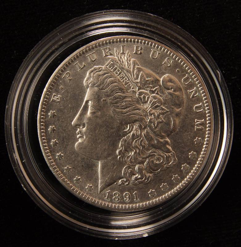 1891-O MORGAN SILVER DOLLAR AU IN AIRTITE HOLDER