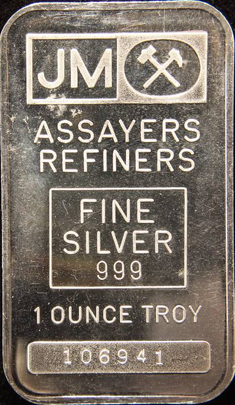1 TROY OZ. .999 FINE SILVER BAR JM JOHNSON MATTHEY