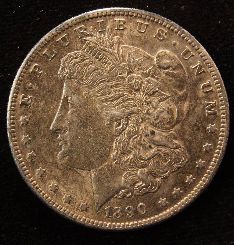 1890-S MORGAN SILVER DOLLAR AU58 NICELY TONED