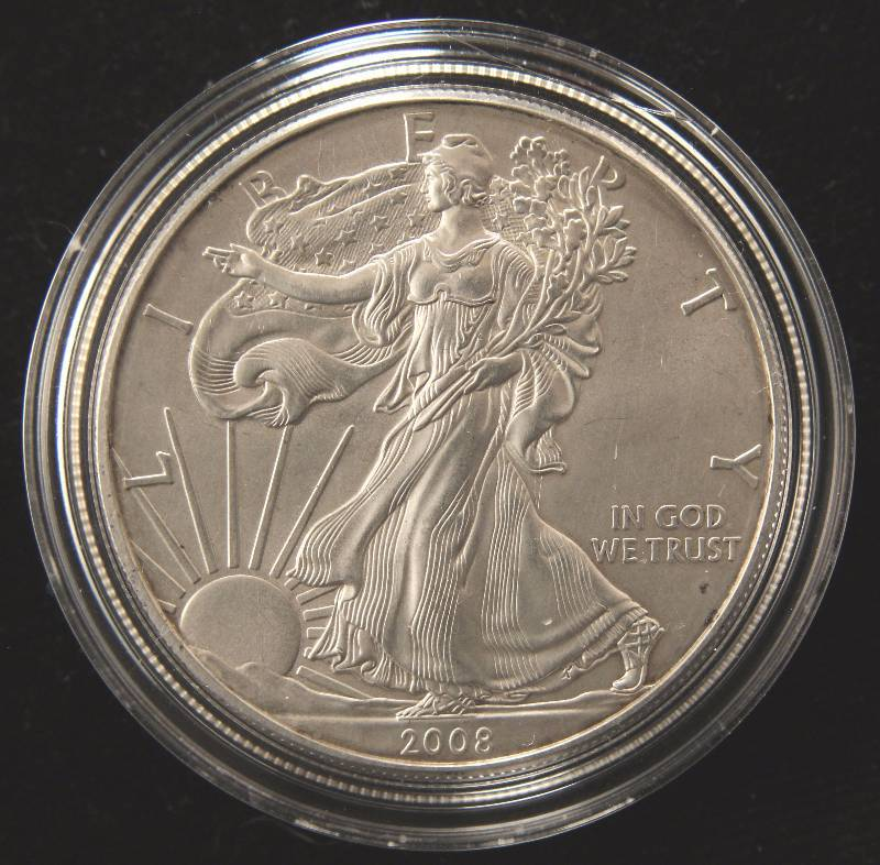 2008 AMERICAN SILVER EAGLE 1 TROY OZ. .999 FINE SILVER DOLLAR IN AIRTITE CAPSULE