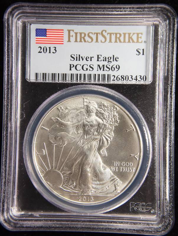 2013 AMERICAN SILVER EAGLE 1 TROY OZ. .999 FINE SILVER DOLLAR MS69 PCGS FIRST STRIKE