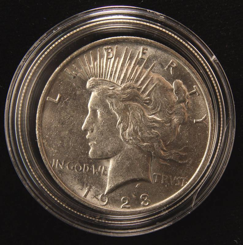 1923 PEACE SILVER DOLLAR AU IN AIRTITE HOLDER