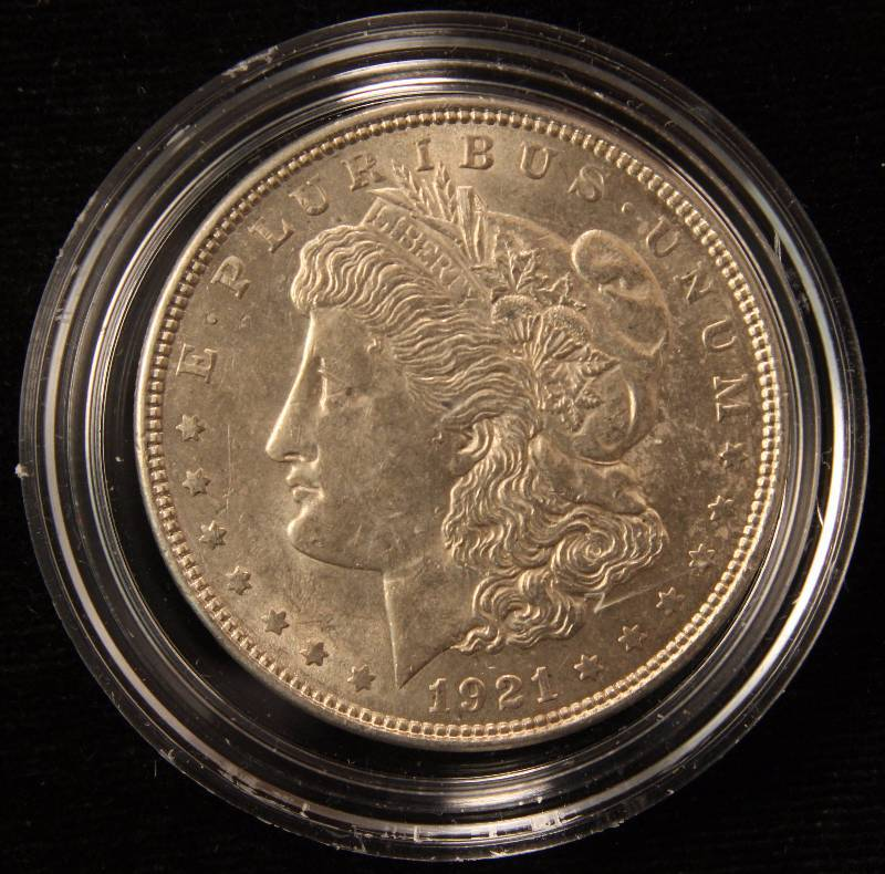 1921 MORGAN SILVER DOLLAR UNC IN AIRTITE HOLDER