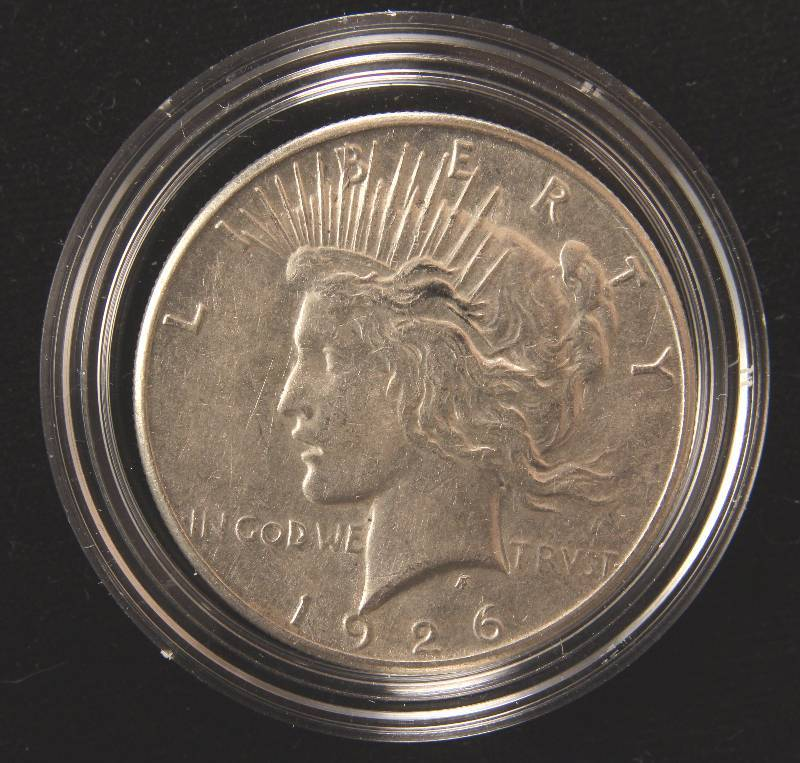 1926-S PEACE SILVER DOLLAR XF IN AIRTITE HOLDER