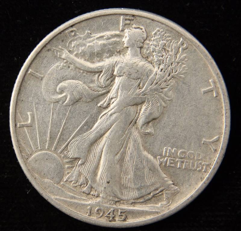 1945-S WALKING LIBERTY SILVER HALF DOLLAR XF