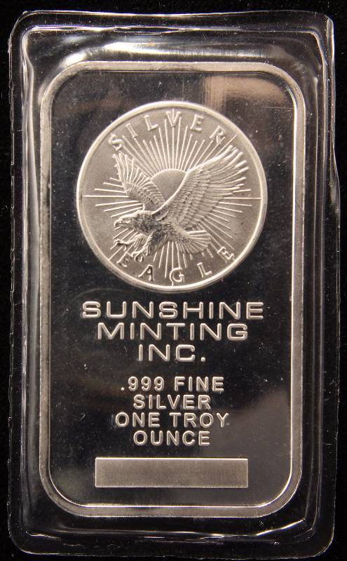 1 TROY OZ. .999 FINE SILVER BAR SUNSHINE MINTING SEALED