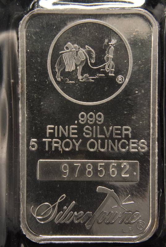 5 TROY Oz. .999 FINE SILVER BAR PROSPECTOR BY SILVERTOWNE SEALED
