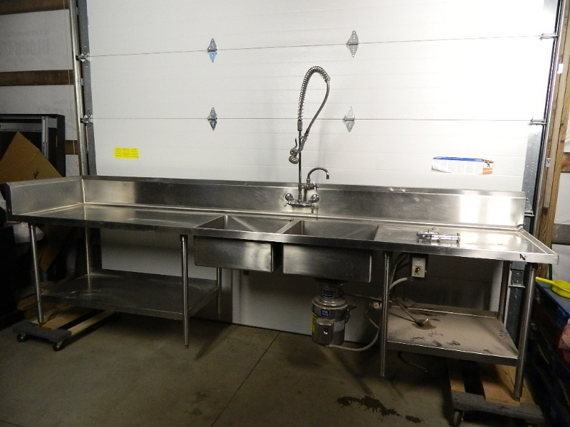 Large Double Stainless Prep Sink With Garbage Disposal