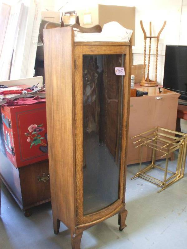 SOLID OAK CURIO CABINET | VINTAGE / ASIAN FURNISHINGS, ACCESSORIES, MORE |  K BID