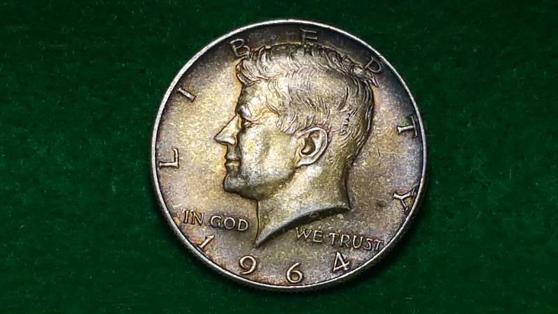 1) 1964 Kennedy Half Silver Dollars BU Toned | Huge Silver Coin