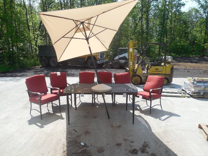 Hampton bay oak cliff 7 piece metal outdoor dining set for Outdoor furniture hwy 7