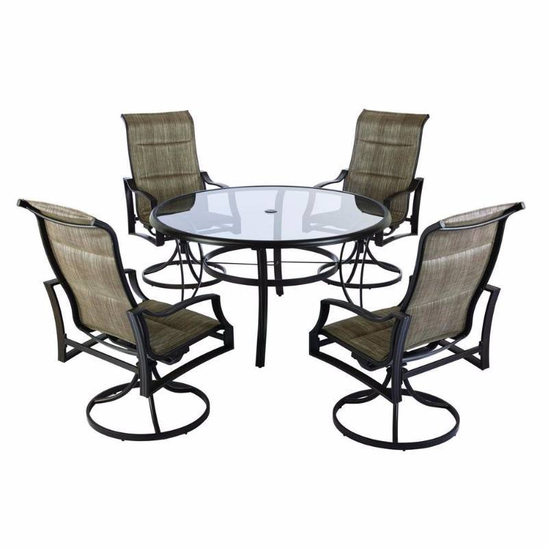 Hampton bay statesville padded sling patio dining set of 4 for Outdoor furniture hwy 7