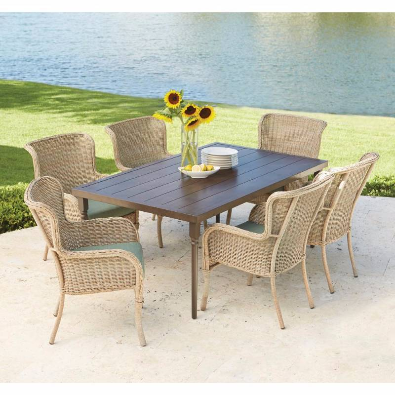 Hampton bay lemon grove 7 piece wicker outdoor dining set for Outdoor furniture hwy 7