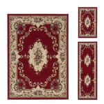 Laguna Traditional Medallion Red 3-Pc. Rug Set