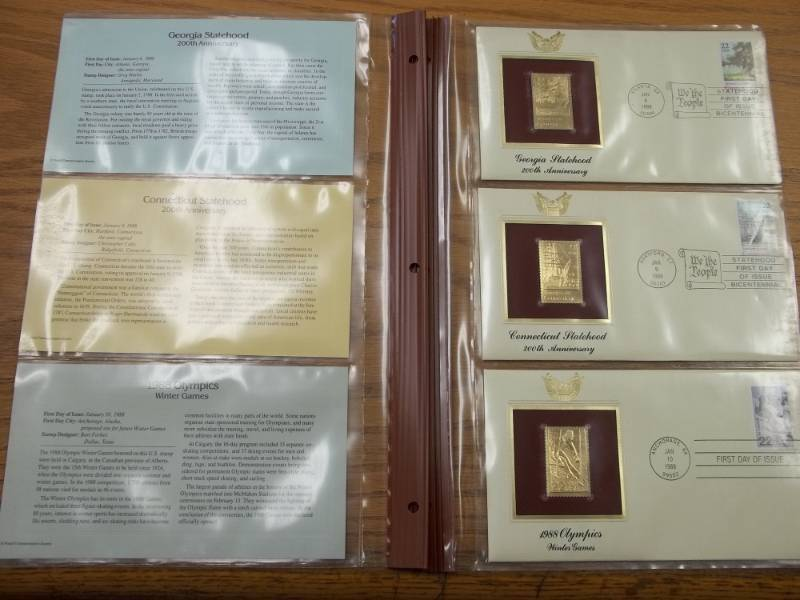 First Day of Issue 22K Gold Proof Replicas Set of 3 Will  Fit into Binder of Lot 32