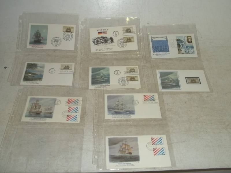 9 Assorted First Day Issue Ship Stamps