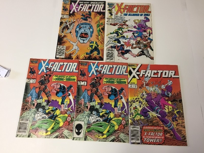 5 Marvel X-FACTOR Comic Books Vintage 75 cents
