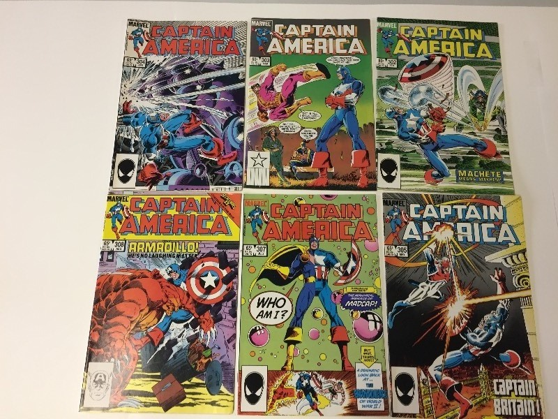 6 Marvel CAPTAIN AMERICA Comic Books 60 & 65 cents