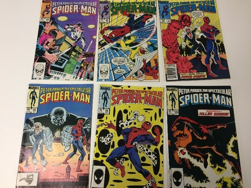 6 Marvel Peter Parker THE SPECTACULAR SPIDER-MAN Comic Books 60 & 65 cents